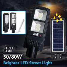 50/80W Solar Street <b>LED</b> Light Motion Sensor <b>Radar Induction</b> ...