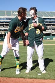 best images about green collar baseball opening josh on josh pie ing reddick gets donaldson some postgame pie