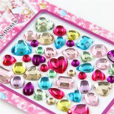 cheap cute jewerly acrylic stickers 3d heart shape kids diy diamond seal 6sheetslot cheap acrylic furniture