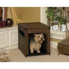 small dog furniture. happy dog enjoying their small wicker crate door open furniture