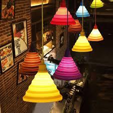 modern colorful silicone pendant lights collapsiblefolding pendant lamps e27 creativefashion decoration lighting for home cable pendant lighting