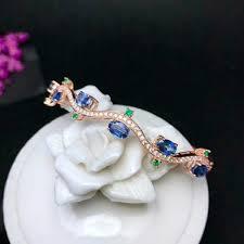 2019 <b>Shilovem 925 Silver Sterling</b> Natural Sapphire Cuff Bracelets ...