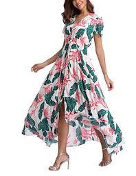 V fashion <b>Women's Floral Maxi Dress</b> Button Up Split Summer Boho ...