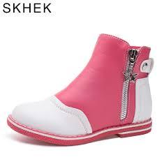 <b>SKHEK Kids Boots</b> Fashion Brand <b>Rubber</b> Outsole Leather Girl ...