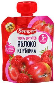 Детское питание <b>пюре SEMPER фруктовое</b> Яблоко клубника 6 ...