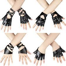 4 Pairs <b>Women</b> Punk <b>Rivets</b> Belt Half Finger <b>Gloves</b> PU <b>Leather</b> ...