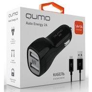 <b>Зарядное устройство Qumo</b> АЗУ <b>2xUSB</b> 2A + кабель microUSB ...