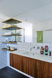 bathroom subway tile in bathroom midcentury with bathroom shelves additions bathroom mid century