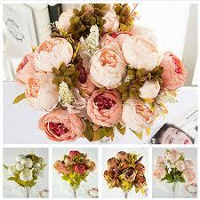 <b>13 Heads</b> Silk Peony Artificial Flowers Peony Wedding <b>Bouquet</b> ...