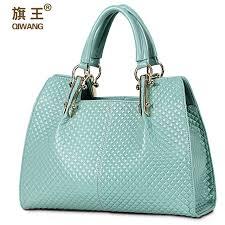 <b>QIWANG</b> Loved Vogue Genuine <b>Leather</b> Women Bag Plaid Design ...