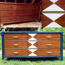modern painted furniture. painted by vintage reclaimed mid century modern dresser in amy howards belgium blue lacquer paint geometric patterns and metallic hardware furniture