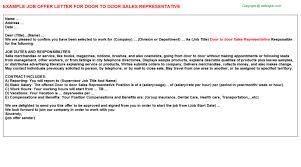 to door sales representative job titledoor to door sales representative job offer letter