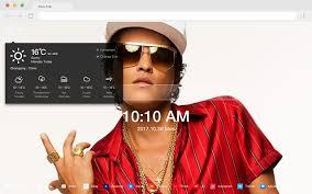 <b>Bruno Mars</b> New Tab Page HD Pop Stars Theme