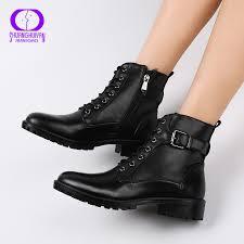 <b>New Fashion European Style</b> Black Ankle Boots Flats Round Toe ...