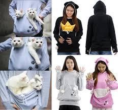 Girls <b>Cat Dog</b> Pouch Hoodies Kitten Puppy Carrier Holder Shirts ...