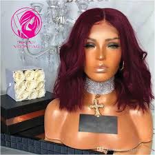 99j burgundy wavy short bob lace front human hair wigs with baby pre plucked middle part brazilian remy wig qearl