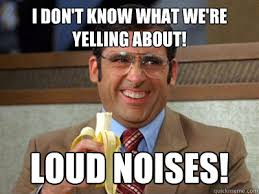 I don't know what we're yelling about! LOUD NOISES! - Brick ... via Relatably.com