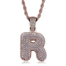 26 Letters Pendant Necklace Rose Gold Plated <b>Micro Pave</b> Zircon ...