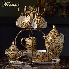 Leopard Print Bone <b>China Coffee</b> Set Luxury Porcelain <b>Tea Set</b> ...
