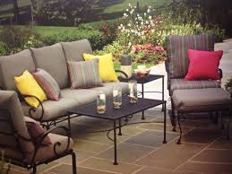 rod iron patio furniture with colourful pillows and cushions colored brown full size black wrought iron furniture