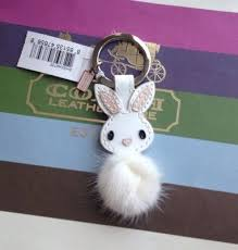 New Coach 92869 <b>Patent</b> Leather Mink Fur Bunny Rabbit Keychain ...