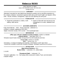 Wait Staff Resume Example (The Swinging Hookah) - Fresno, California Rebecca R.