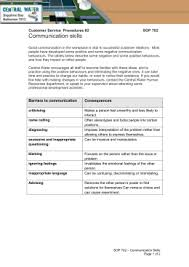 trevithicks lexicon of  skills  interventions communication skills customer service procedures  sop