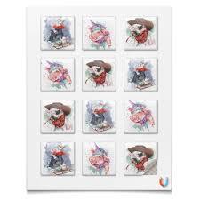 <b>Магниты квадратные 5</b>×<b>5</b> см Новогодние свинки для подарков ...