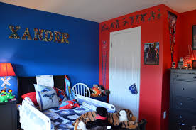 awesome small twin kids bedroom design ideas disney cars shaped creative interior delightful red blue superhero blue themed boy kids bedroom