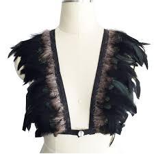 2019 Women'S Fashion <b>Goth Gypsy Feather Feather Cage</b> Bra ...