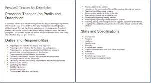 top preschool teacher job description recentresumes com sample resume education job descriptions preshool teacher