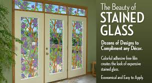 patio door privacy film  stained glass window film