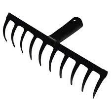 <b>грабли прямые</b> c 10 <b>прямыми</b> зубьями 26см стальные без черенка