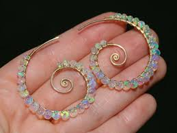 Solid Gold 14K Ethiopian Opal Wire Wrapped Spiral Hoop <b>Earrings</b> ...