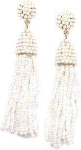 Happiness Boutique Women White <b>Beaded Tassel</b> Earrings ...