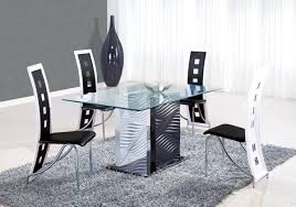 astonishing modern dining room sets: astonishing modern dining room sets with pedestal glass table furnished with chairs on soft rug and