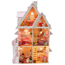 2016 new wooden dollhouse furniture kids toys handmade gift diy doll house kits with led stuff home decor craft doll houses miniature x001 affordable dollhouse furniture