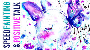 <b>Watercolor Bunny</b> and Butterfly Speed Painting // Positive Talk on ...