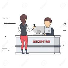 front desk receptionist clipart clipartfox guest at reception desk
