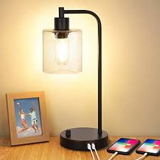 Industrial <b>Table Lamp</b> with 2 <b>USB</b> Ports,Fully Stepless <b>Dimmable</b> ...