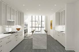 calacatta marble kitchen waterfall: contemporary kitchen with u shaped athens grey polished x marble tile specialty door