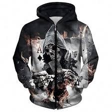 Emlyn Adrian 3D Zip Hoodies Skull Poker Hoodie ... - Amazon.com