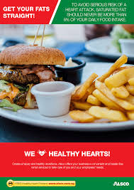 workplace heart health posters workplace ables alsco avoid saturated fat it should never be more than 6% of your daily food intake
