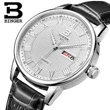 compare prices on michele watches online shopping buy low price genuine swiss binger brand men quartz leather strap watches male form parallel lines waterproof shipping