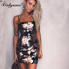 Colysmo Gold Spray Floral Printed Metallic Dress <b>Sexy Mini Women</b> ...