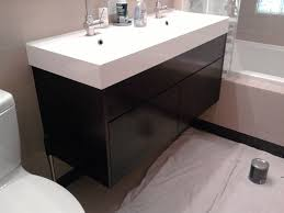 idea bathroom double vanity cabinets sink hanging bathroom vanity cabinet and double trough sinks in white color