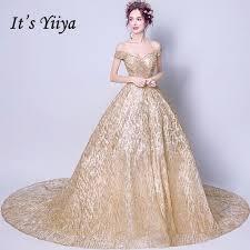 <b>It's Yiiya</b> Boat Neck Gold Luxury <b>Evening</b> Dresses Floral <b>Bling</b> ...