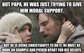 But papa, he was just trying to give him moral support. But he is ... via Relatably.com