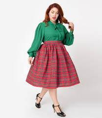 Red Plaid <b>High Waist</b> Circle Swing Skirt – La Femme Fatale Plus ...