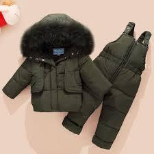 2019 Winter <b>Children's</b> Clothing Set <b>Kids Ski Suit</b> Overalls Baby ...